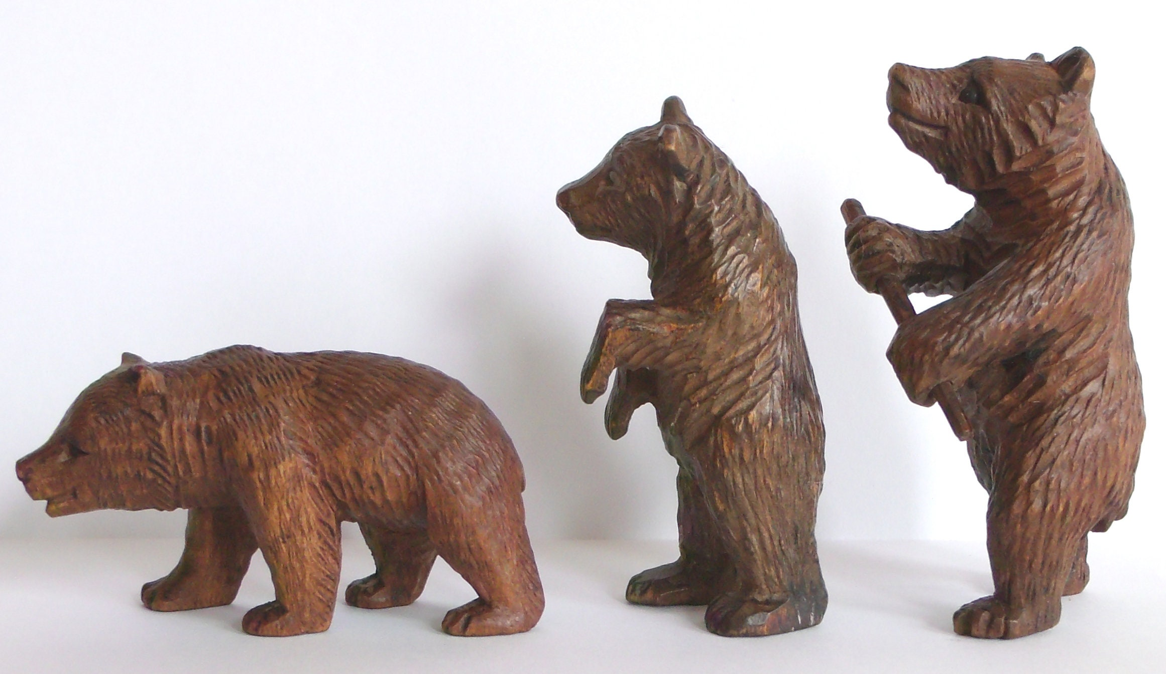 Black Forest Bear Carvings 3x Germany Antique Collectable Etsy