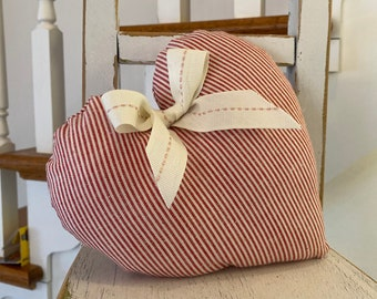 Handmade SCENTED Red White Ticking Heart / Country Home Style