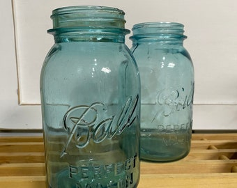 Old Vintage Blue Ball Jars / Farmhouse Style / Country Home / Set of TWO