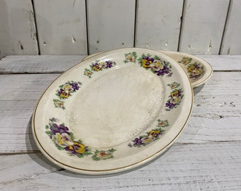 Vintage Pansy Platters / Set of TWO / Country Home Style / Spring