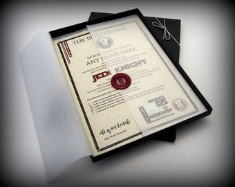 Deluxe Star Wars Jedi Knight Certificate in a Luxury Gift Box - Personalised with the name of your choice