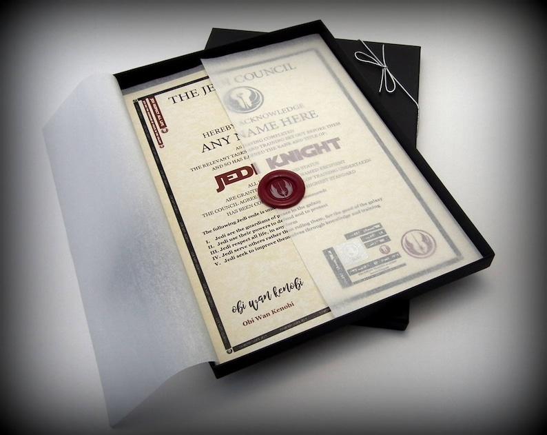 Deluxe Star Wars Jedi Knight Certificate in a Luxury Gift Box image 0