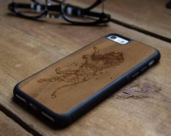 Kerby Rosanes Geometric Lion -Real Wood Traveler Case-iPhone SE/6/7/8/X/Plus -Galaxy Note 8/S9/S9 Plus/S8/S8 Plus/S7/S7 edge -Pixel/XL/2/2XL
