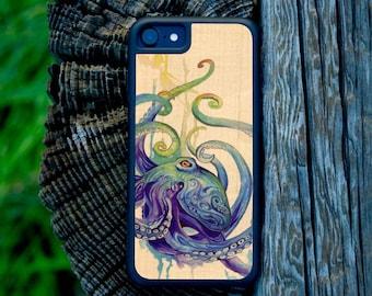 Katy Lipscomb Octopus - Real Wood Traveler Case - iPhone SE/6/7/8/X/Plus - Galaxy Note 8/S9/S9 Plus/S8/S8 Plus/S7/S7 edge - Pixel/XL/2/2XL