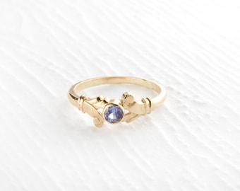 14k Gold Faceted Tanzanite Ring