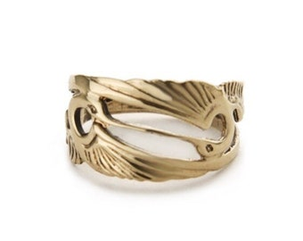Double Heron 14k Gold Ring, Infinity Band