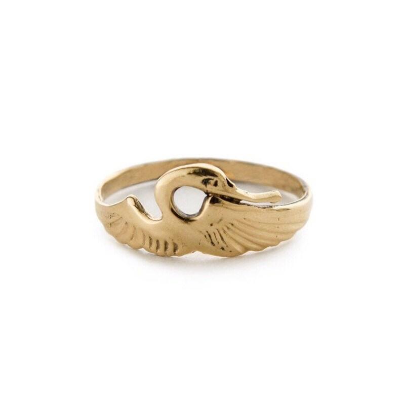 Heron 14k Gold Ring Gold Band image 1