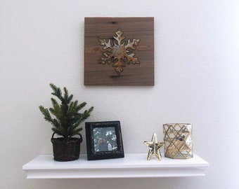 Rusty Metal Snowflake on Reclaimed Barnwood - Ready to hang!