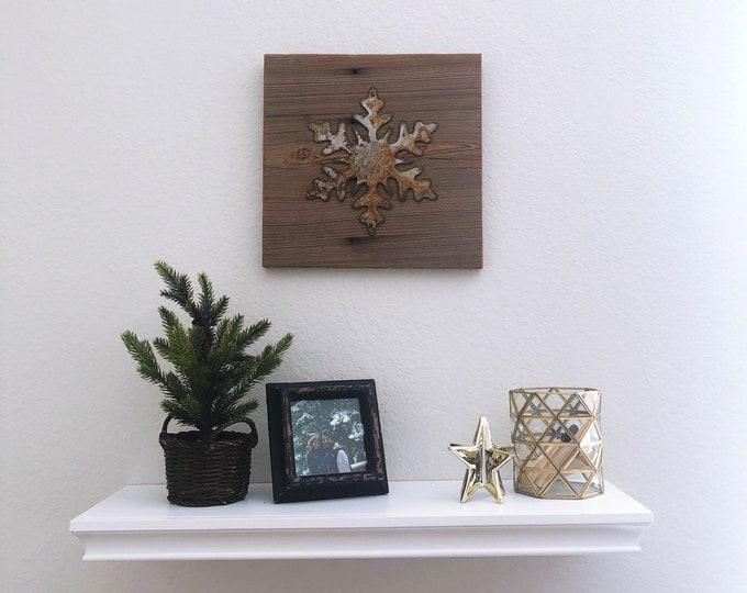 Rusty Metal Snowflake on Reclaimed Barnwood - Ready to hang!