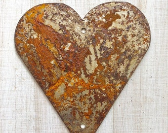 """Country Heart - 6"""" Rusty, Rustic, Rusted Metal Heart - Make your own Sign, Gift, Art"""