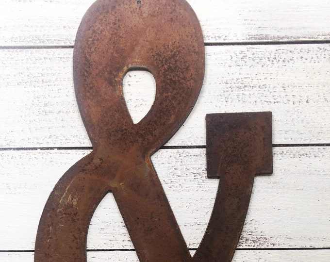 """Ampersand Symbol - 8"""" Rusty, Rustic Metal & - Make your own Sign, Gift, Art!"""