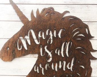 "Unicorns are Magic - 18"" Rusty Metal Unicorn - For Art, Sign, Decor - Make your own DIY Gift!"