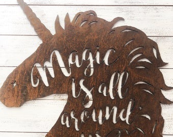 "Unicorns Are Magic - 12"" Rusty Metal Unicorn-  For Art, Sign, Decor - Make your own DIY Gift!"