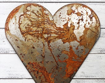"Heart - 12"" Large Rusty, Rustic Metal HEART - DIY Sign, Gift, Art!"