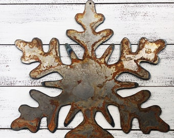 "Snowflake - 12"" Large Rusty, Rustic Metal SNOWFLAKE - DIY Sign, Gift, Art!"