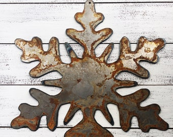 "Snowflake - 6"" Rusty, Rustic Metal Snowflake - For Art, Sign, Decor - Make your own DIY Gift"