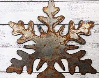 "Snowflake - 4"" Rusty, Rustic Metal SNOWFLAKE - Make your own Sign, Gift, Art!"