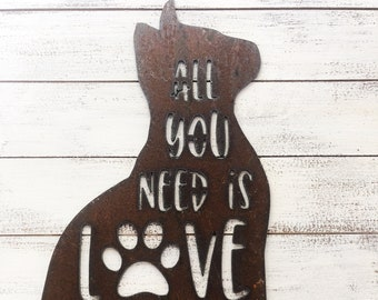 "All You Need is Love and a Cat - 12"" Rusty Metal CAT -  For Art, Sign, Decor - Make your own DIY Gift!"