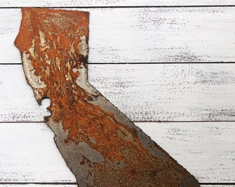 """California - 6"""" Rusty Metal CALIFORNIA State! Make your own Sign, Gift, Art!"""
