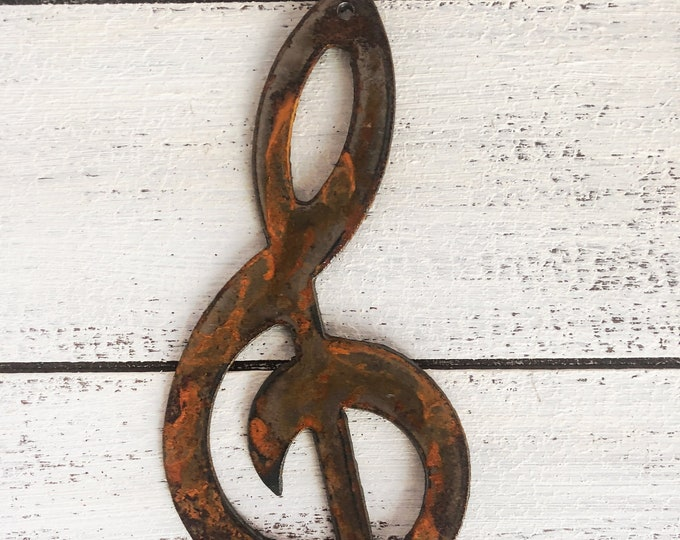"""Treble - 4"""" Rusty Metal Music Note - For Art, Sign, Decor - Make your own DIY Gift"""