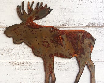 """Moose - 6"""" Rusty, Rustic Metal MOOSE - Predrilled - For Art, Sign, Decor - Make your own DIY Gift"""