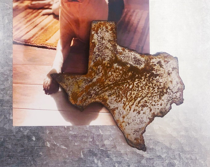 "Texas Magnet - 4"" Rusty, Rustic Metal Texas State Magnet"