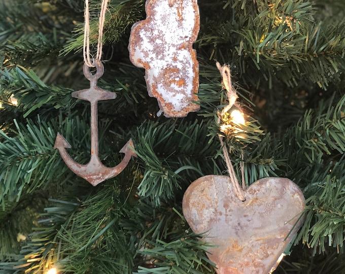 "Tahoe Lake Life - Rusted Metal Ornament Gift Set - ANCHOR, TAHOE, HEART - 4"" tall"