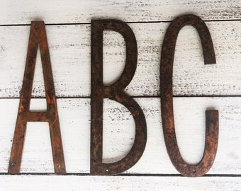 "Skinny 6"" Rusty, Rusted, Rustic Metal Letters - Make your own Sign, Gift, Art"
