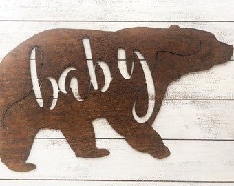 "Baby Bear - 18"" Rusty Metal BABY BEAR - For Art, Sign, Decor - Make your own DIY Gift!"