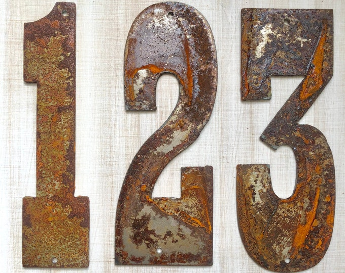 "12"" Large Numbers - Rusty, Rustic, Rusted Metal Numbers - Make your own Sign, Gift, Art!"