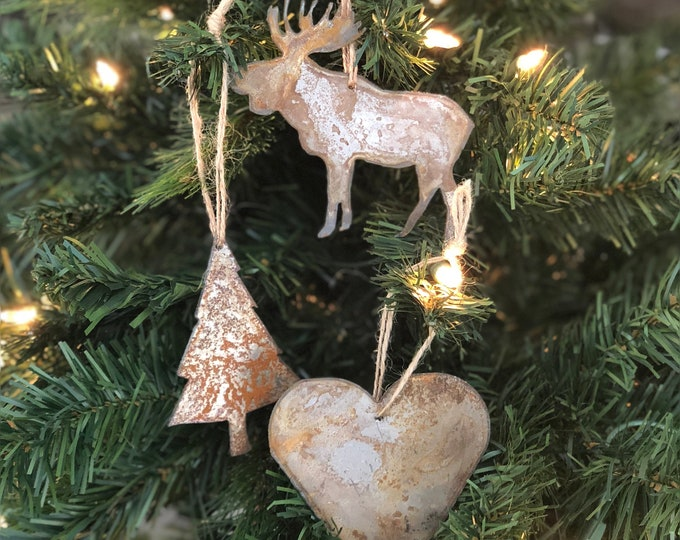 """Woodland - Rusted Metal Ornament Gift Set - TREE, HEART, MOOSE - 4"""" tall"""