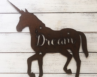"Unicorn Dream - 18"" Rusty Metal Unicorn Dream - For Art, Sign, Decor - Make your own DIY Gift!"