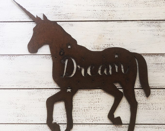 "Unicorn Dream - 12"" Rusty Metal Unicorn - For Art, Sign, Decor - Make your own DIY Gift!"