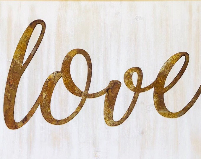 """Love - Thin - 12"""" Rusted, Rusty Metal Script Sign"""