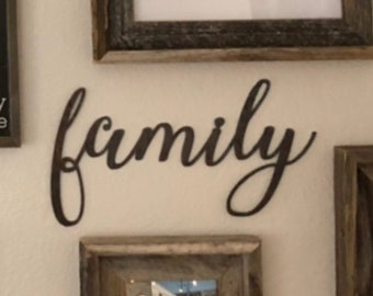 "Family - thin script - 18"" Rusted, Rusty Metal Script Sign"