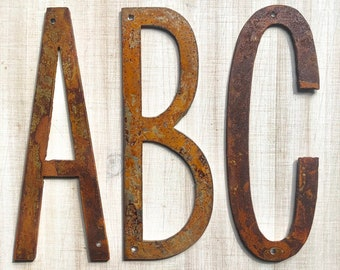 """Thin 6"""" Rusty, Rusted, Rustic Metal Letters - Make your own Sign, Gift, Art"""