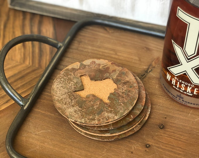 Texas - Set of 4 Round Coasters - Rusty, Rusted, Rustic Metal Coasters