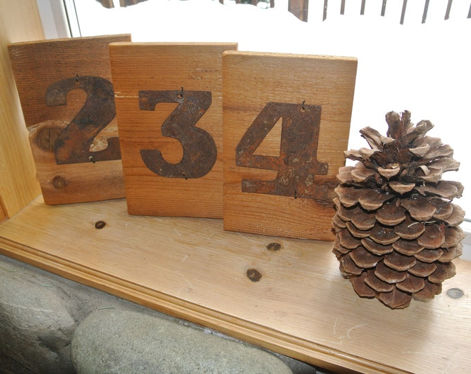 "Bold ""4"" - 4"" Rusty, Rusted, Rustic Metal Number - Make your own Sign, Gift, Art"
