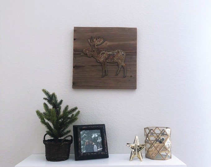 Rusty Metal Moose on Reclaimed Barnwood - Ready to hang!