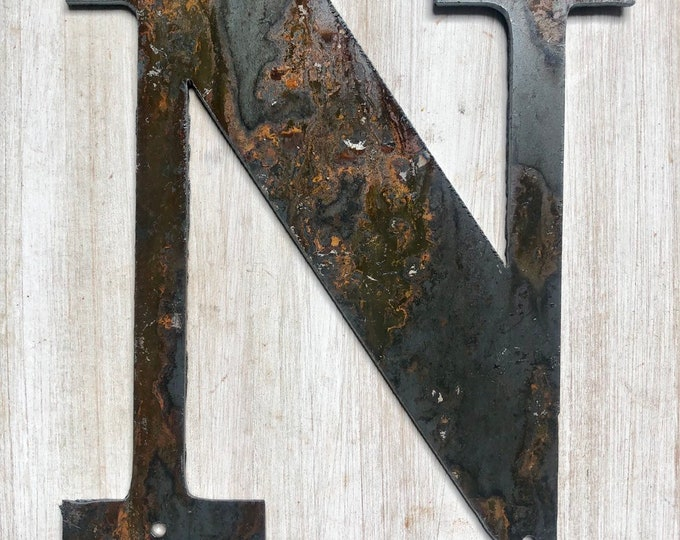 """5.25"""" Bold """"N"""" Letters, Initials, Monogram - Light Rust and Raw Steel Metal Letters - Make your own Sign, Gift, Art!"""