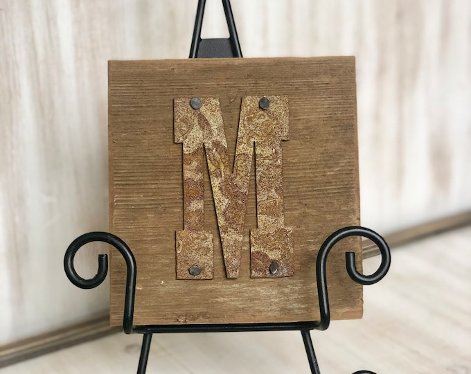 "Rusty Metal ""INITIAL"" on Rustic Reclaimed Cedar Wood - Ready to Hang - Primitive Farmhouse Sign"