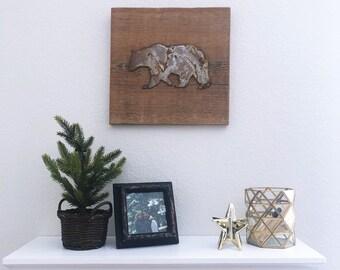 Rusty Metal Bear on Reclaimed Barnwood - Ready to hang!