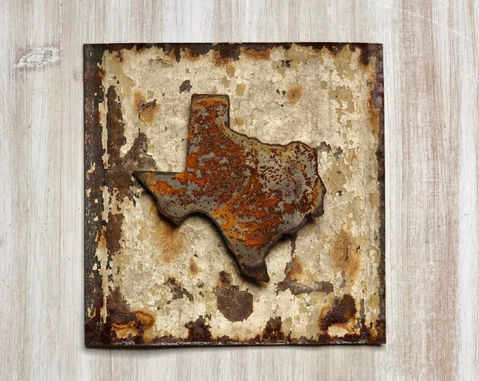 """Texas Magnet - 4"""" Rusty, Rustic Metal Texas State Magnet"""
