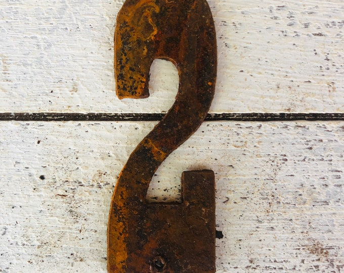 "3 Inch ""2"" - Rusty, Rustic, Rusted Metal Number - Make your own Sign, Gift, Art"