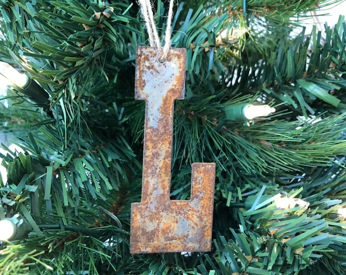 """Single or Set of 3...Rusty Metal INITIAL letter Ornament(s)- Rustic - 4"""" tall"""