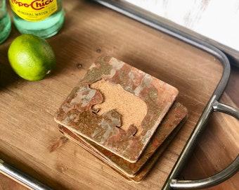 Bear - Set of 4 Square Coasters - Rusty, Rusted, Rustic Metal Coasters
