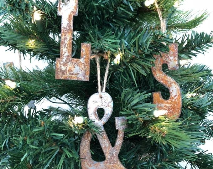 "Initials Me & You  - Rusted Metal Ornament Gift Set - TWO LETTERS, AMPERSAND - 4"" tall"