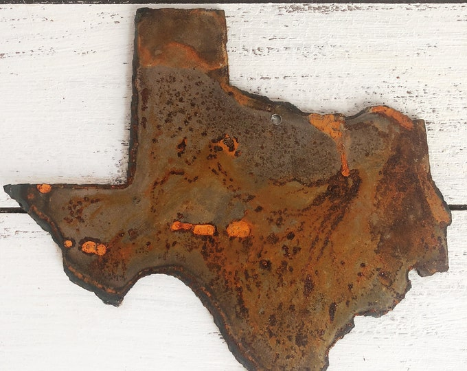 """Texas - 12"""" Rusty, Rustic Metal TEXAS - Predrilled - For Art, Sign, Decor - Make your own DIY Gift"""