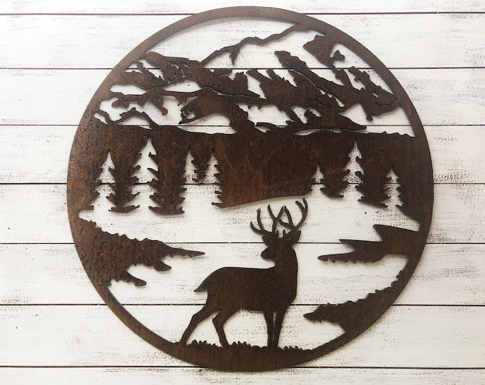 "Round Buck Scene - 18"" Rusty Metal Deer Mountain Sign - For Art, Sign, Decor - Make your own DIY Gift!"