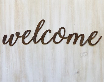 """Welcome - Thin - 12"""" Rusted, Rusty Metal Script Sign"""